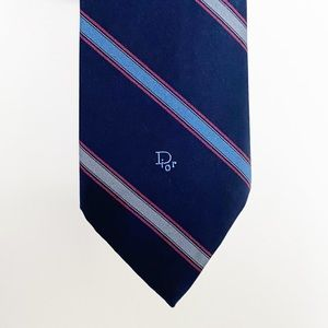 Christian Dior Navy Striped Tie